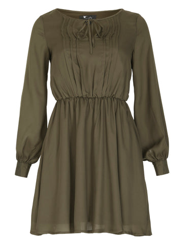 Cutie Pleated Khaki Skater Dress