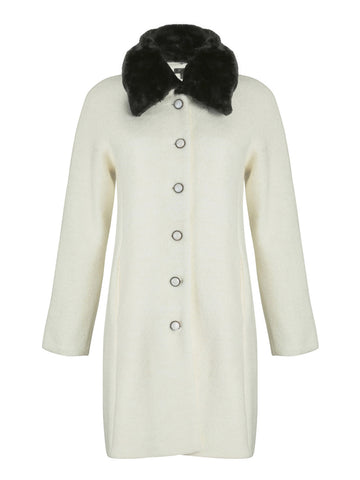Cutie Cream A-line faux fur collar coat