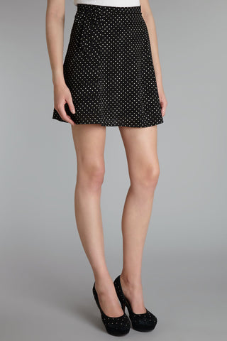 Cutie Black Ditsy Bow Detail Skirt