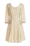 Cutie Embroidered Dress - Cream