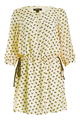 Cutie Elephant Print Dress - Cream