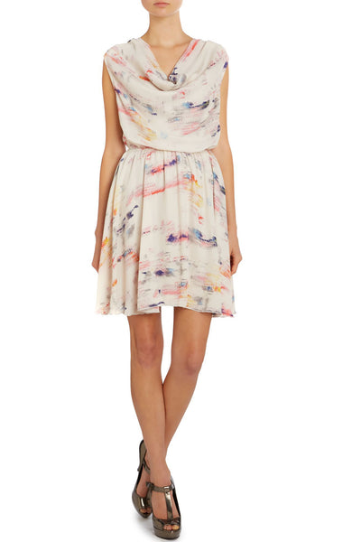 Cutie London Cowl Neck Print Dress