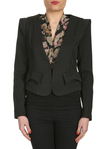 Cutie Flap Detail Fitted Blazer-Black