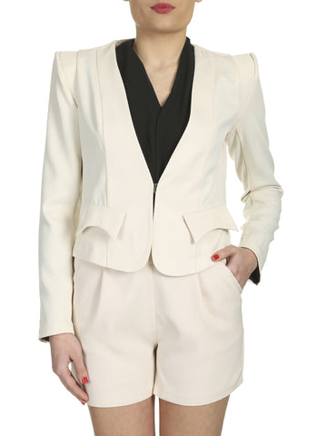 Cutie Cream Flap Detail Fitted Blazer