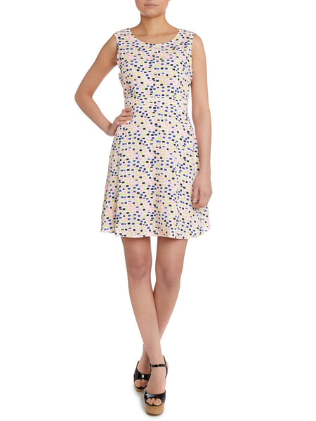Cutie Multicoloured Squares Print Dress -Cream