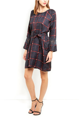 Cutie Check Print Dress - Navy