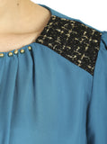 Cutie Teal Gold Studded Top
