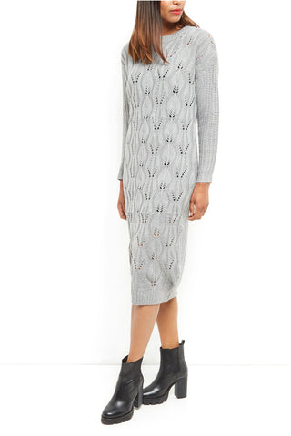 Leanne Grey Textured Knit Dress