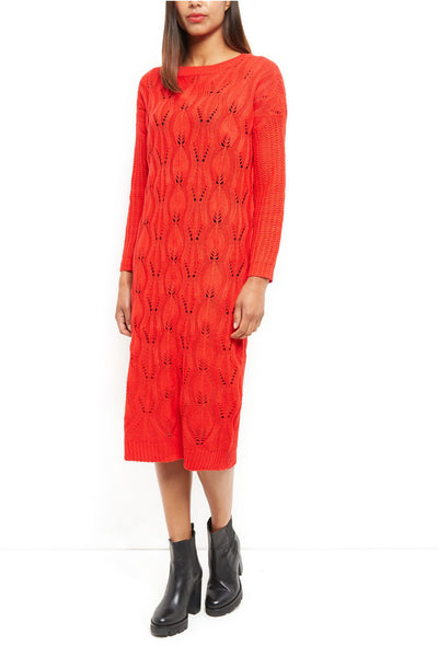 Leanne Red Textured Knit Dress