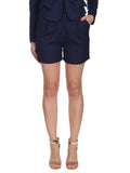Cutie Navy Textured Fabric Basic Shorts