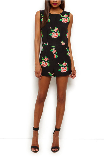 Cutie Rose Print Playsuit - Black