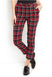 Cutie Checkered Fitted Trousers - Red