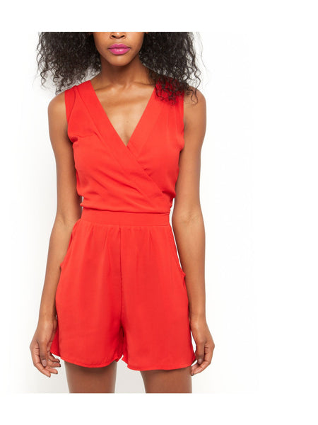 Cutie Red Wrap Detail Playsuit