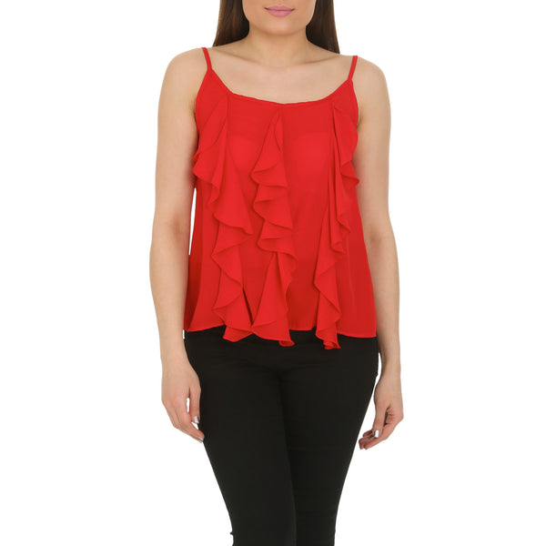 Cutie Red Frill Detail Vest Top
