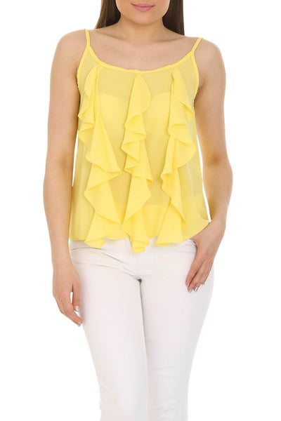 Cutie Yellow Frill Detail Vest Top