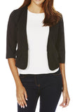 Cutie Black 3/4 Sleeve Fitted Blazer