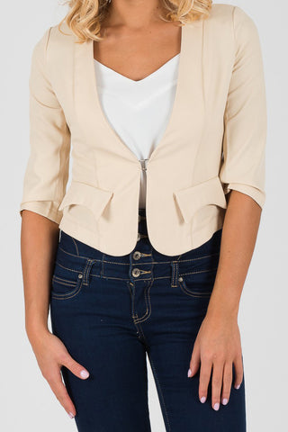 Cutie Cream 3/4 Sleeve Fitted Blazer