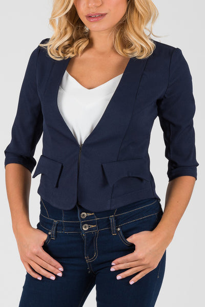 Cutie Navy 3/4 Sleeve Fitted Blazer