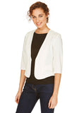 Cutie White 3/4 Sleeve Fitted Blazer