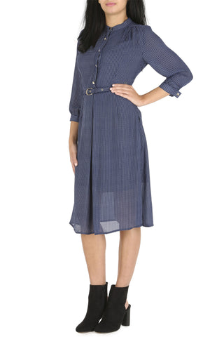 Cutie Navy Blue Check Shirt Dress