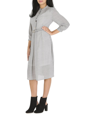 Cutie Grey Check Shirt Dress