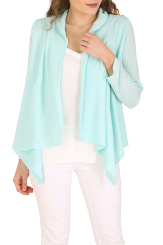 Mint Light Chiffon Waterfall Blazer