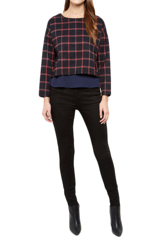 Cutie Navy Check Layered Top