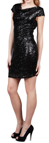 Cutie Sequin Embellished Cowl Neck Dress