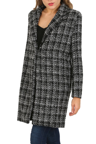 Cutie Checkered Monochrome Oversized Coat - Black Grey