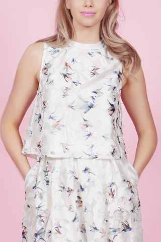 Cutie Lace Bird Printed Top - White