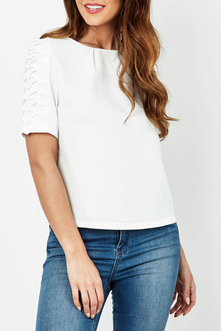 Cutie Shoulder Detail Box Top-White