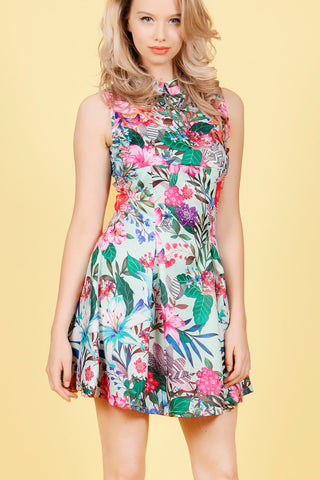 Cutie Tropical A-line Pleated Dress