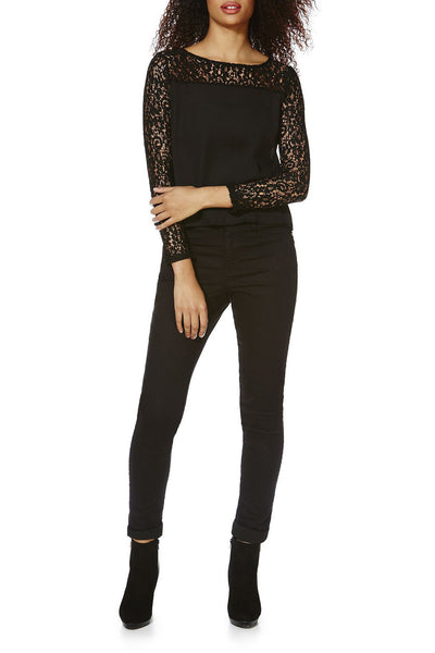Cutie Lace Sleeved Top - Black