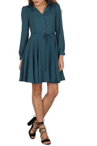 Cutie A-line Shirt Dress Teal