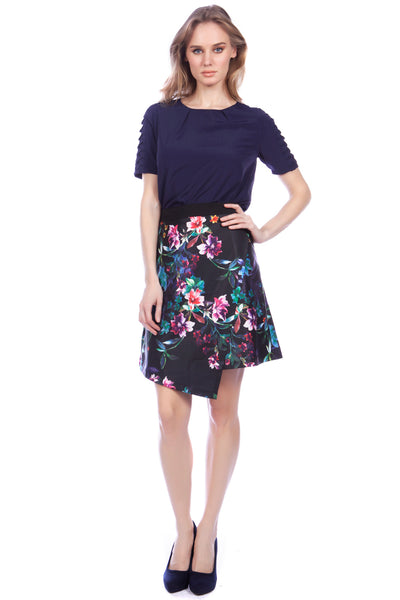 Cutie Wrap over floral skirt