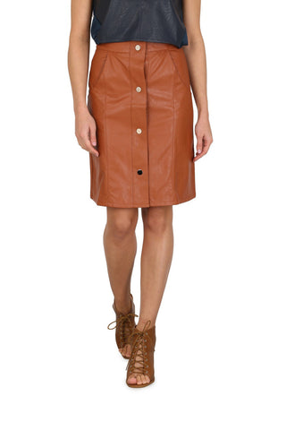 Cutie Pencil Skirt with Front Silver Poppers - Tan