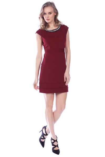 Cutie Maroon Jewelled bodycon dress
