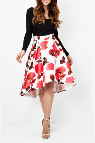 Cutie Floral Print Highlow Midi Skirt
