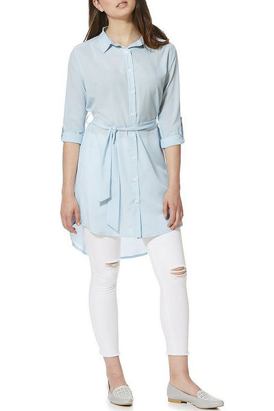 High Low Hem Shirt Dress Blue