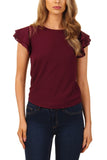 Cutie Frill Sleeves Top-Wine
