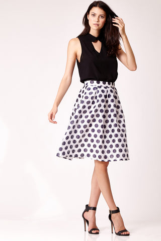 Polka Dot Box Pleat Skirt