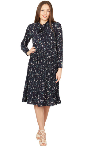 Cutie London Womens Navy Pleated Ditsy Print Floral Long Sleeve Dress