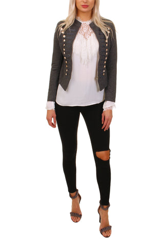 Cutie London Military Style Blazer - Charcoal