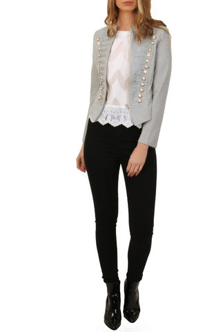 Cutie London Military Style Blazer - Grey