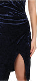 Sleeveless Wrap Velvet Dress Navy