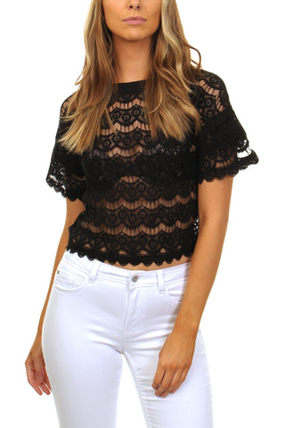 Cutie Short Flared Lace Top