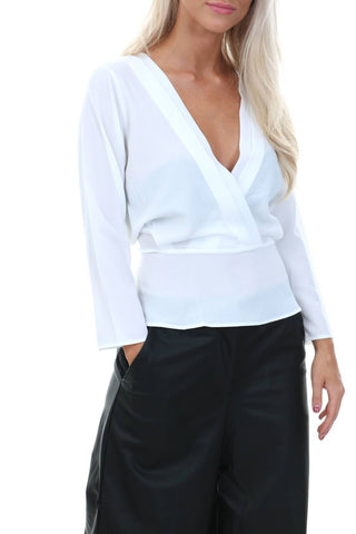 Wrap Over Tie Top- White