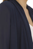 Navy Light Chiffon Waterfall Blazer