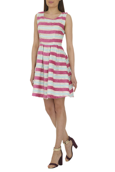 Pink Textured Stripe Dress