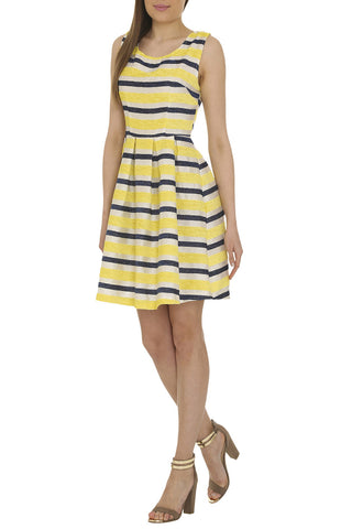 Yellow Textured Stripe Dress